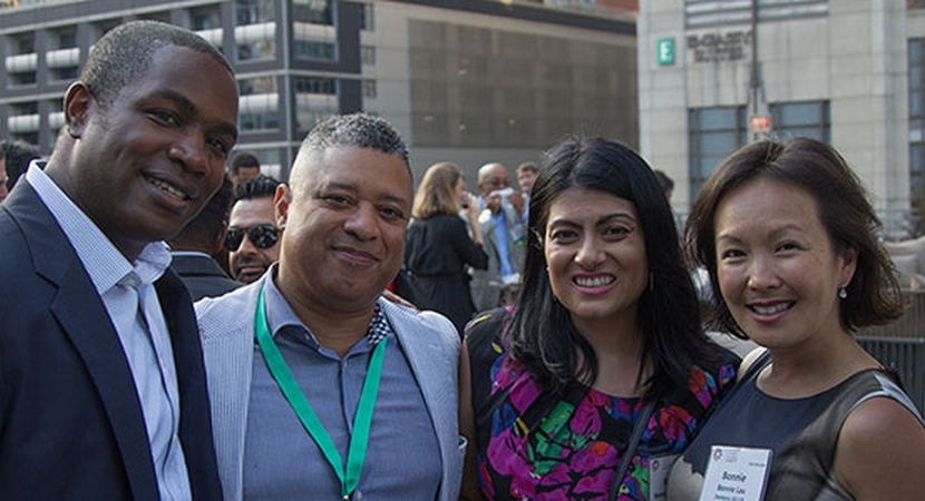 (L to R): 2012 Fellow Corey Lee and 2013 Fellows Daron Watts, Reena Bajowala, and Bonnie Lau at the Fifth Annual LCLD Fellows Alumni Conference in Chicago, June 2016. (Photo by 2012 Fellow Nabil Foster)