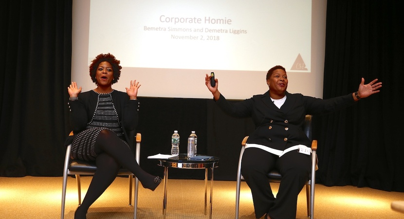 "On their ""Corporate Homie"" podcast, Demetra Liggins, left, and her twin sister Bemetra Simmons offer listeners wisdom and heartfelt advice on lifestyle and career. (Photo by Joe Mahoney)"