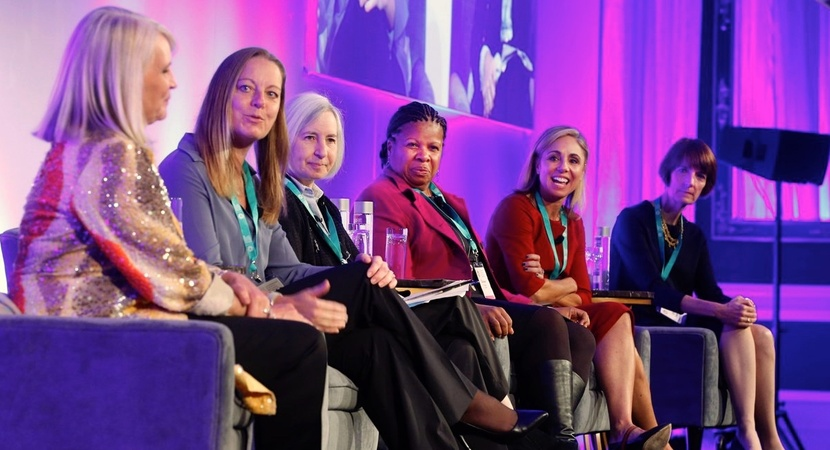 A panel of LCLD Members described their efforts to create more inclusive cultures. L to R: Laura Stein (Clorox), Dev Stahlkopf (Microsoft), Martha Minow (Harvard, moderator), Deneen Donnley (USAA), Kim Rivera (HP Inc.), and Ellen Dwyer (Crowell & Moring).
