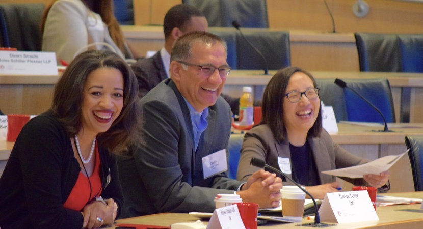 Fellows Renee Doston-Gill, Carlos Tellez, and Lica Tomizuka at the 3M Learning Experience on September 8, 2017. Photo by Caitlin Puffenberger.