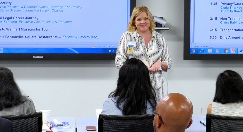 "Citing diversity as an ""integral part"" of Walmart's mission, Karen Roberts, Executive Vice President and General Counsel, welcomed LCLD Fellows to an intensive Learning Experience at Walmart's Bentonville, Arkansas, headquarters. (Photo by Don Belt)"
