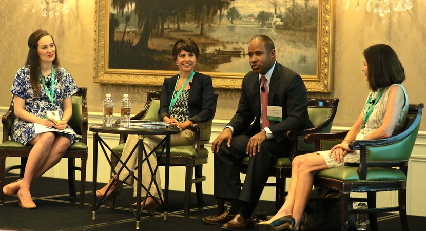 On Friday, the Fellows Alumni heard from a judicial panel with (L to R):  Moderator Lauren Campisi (2011 Fellow); and Hon. Marta Chou, (2012 Fellow), Hon. Kenneth Polite, and Hon. Susie Morgan. (Photo by Charles Belt)