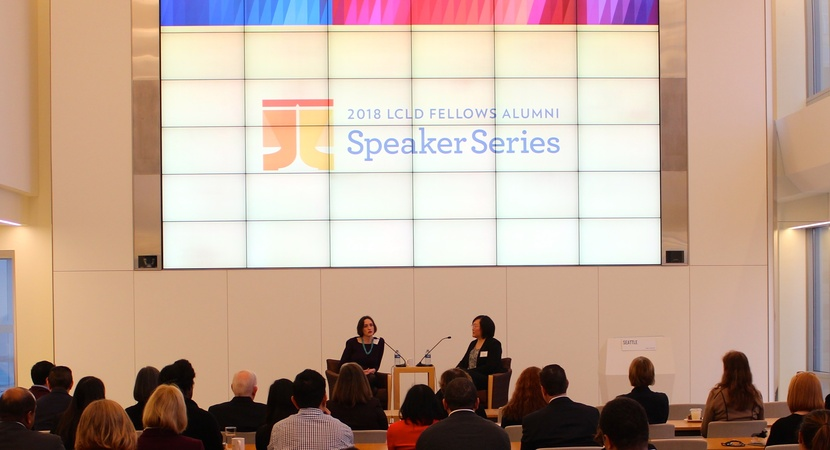 At the inaugural event, Carolyn Frantz spoke to 2016 Pathfinder Jessica Tsao—and LCLD audiences across the U.S. A former Rhodes Scholar, Frantz serves as VP, Corporate Secretary, and Deputy General Counsel of Microsoft Corp. (Photo by Jason Barnwell)