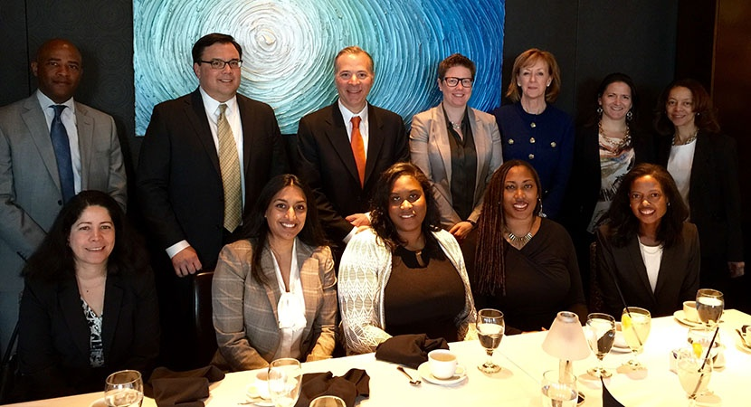 LCLD Member Maryanne Lavan (second row, third from right), GC of Lockheed Martin, and colleagues Susan Dunnings (second row, right) and Jeff Divney (second row, second from left), hosted an intimate lunch with LCLD Fellows.