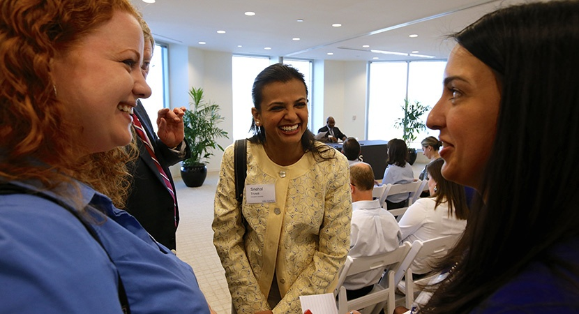 Left to right: Jennifer Hall (Troutman Sanders), Snehal Trivedi (3L student at Campbell University), and Whitney Waldenberg (Troutman Sanders) at the Group Mentoring Program event hosted by K&L Gates in Durham, NC, April 2013. (Photo by Joe Mahoney)