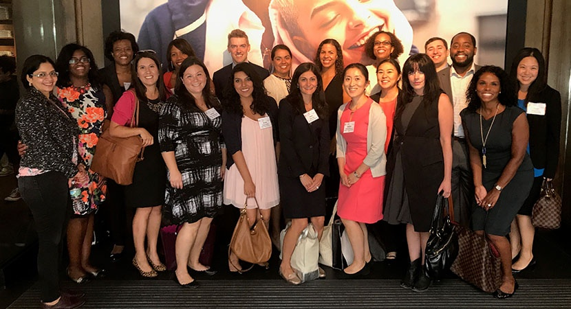 LCLD Fellows and Pathfinders at Abercrombie & Fitch's flagship store in New York City, along with Fellows Program Manager Nichole Velasquez (fourth from left). Photo courtesy of Abercrombie & Fitch.