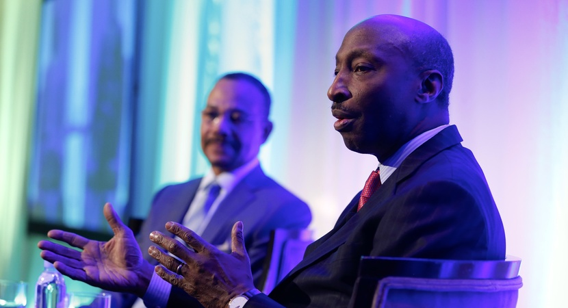 Ken Frazier, CEO of Merck & Co., was interviewed on stage by Rick Palmore, founding Chair Emeritus of LCLD, at the 2017 Annual Meeting luncheon in Washington, D.C. (Photo by Joe Mahoney)