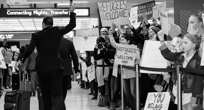 Photo from protest of President Trump's Executive Order at Dulles International Airport (VA) Muslim Ban Protest. Photo by Geoff Livingston.